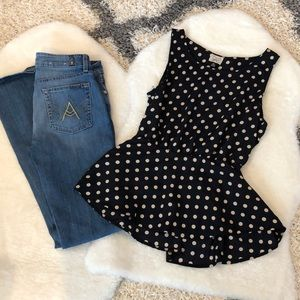 3/$25💫Eyelash Couture Peplum Polka Dot Tank